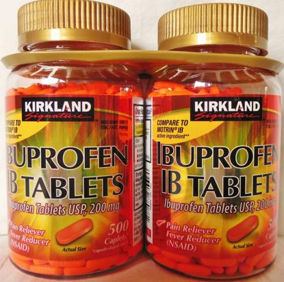 Picture of Kirkland Signature Ibuprofen IB Tablets-Caplet 2 Bottles 200 mg of 500 Tablets