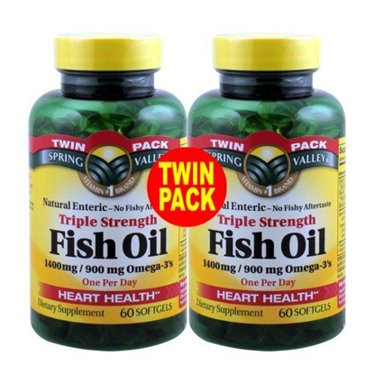 Picture of Spring Valley - Fish Oil 1400 mg, Triple Strength, Natural Enteric, 120 Softgels, Twin-Pack 2-60