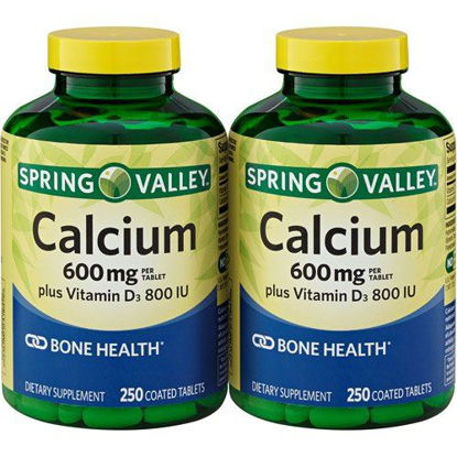 Picture of Spring Valley - Calcium 600 mg with Vitamin D3, Twin Pack, 250 Tablets each pack