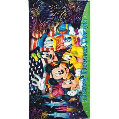 Picture of Disney Mickey Minnie Donald Daisy Pluto Goofy Firework Castle Beach Towel