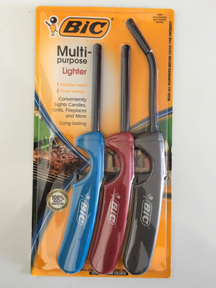 Picture of Bic 3 Pack Multi-Purpose Lighter Combo Pack 1 Flexible Wand & 2 Long Fixed Stem Wands Total: 3 Lighters Included Butane Lighter For Grill Home Kitchen Fireplaces
