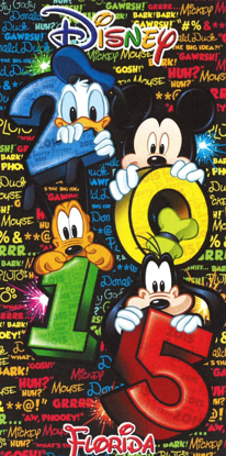 Picture of Disney Florida 2015 Stacked Cartoon Characters 100% Cotton Beach Towel