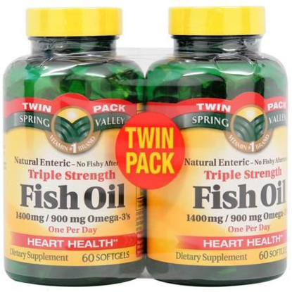 Picture of Spring Valley - Fish Oil 1400 mg, Triple Strength, Natural Enteric, 60 Softgels
