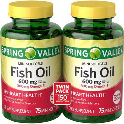 Picture of Spring Valley All Natural Fish Oil 600 mg, 300 mg Omega-3, Twin Pack, 2 x 75 ...
