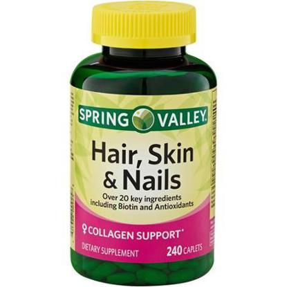 Picture of Spring Valley - Hair, Skin & Nails, Biotin-Collagen-Gelatin, 240 Caplets