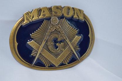 Picture of Masonic Freemason Blue Color Metal Belt Buckle