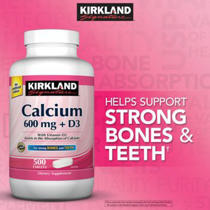 Picture of Kirkland Signature Calcium 600 mg + D3 For Strong Bones and Teeth 500 Tablets Each (PACK OF TWO)