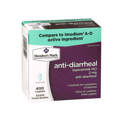Picture of Member's Mark Anti-Diarrheal Loperamide HCl 2mg (1 bottle (200 caplets))