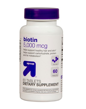Picture of ONLY 1 IN PACK Up & Up Biotin 5,000 Mcg, For Hair & Skin, Dietary Supplement, 60 Tablets