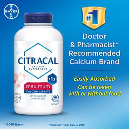 Picture of Bayer Citracal Calcium Citrate Plus D3 Maximum Coated Caplets, 280 Count