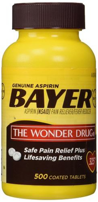 Picture of Genuine Bayer Aspirin (NSAID) Pain Reliever and Fever Reducer 325mg Per Tablet 500 Tablets per Bottle