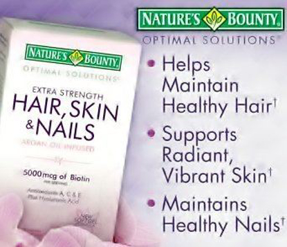 Picture of Nature's Bounty Optimal Solutions Hair Skin and Nails Argan Oil Infused 5000mcg of Biotin, 250 Softgels