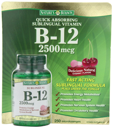 Picture of Nature's Bounty B-12 2500 mcg, 250 Microlozenges