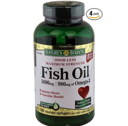 Picture of Nature's Bounty Fish Oil 1400 mg 130 Softgels (Pack of 4)