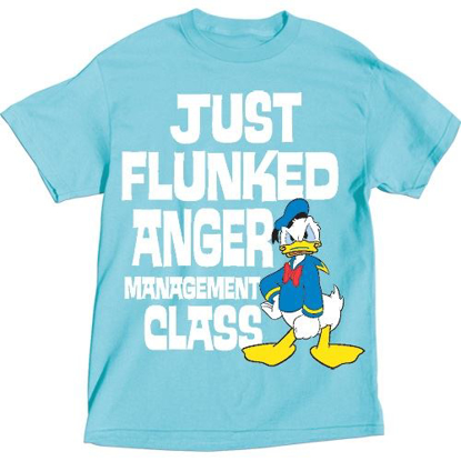 Picture of Disney Adult T-Shirt Donald Duck Flunk Anger Management, Sunrise Blue