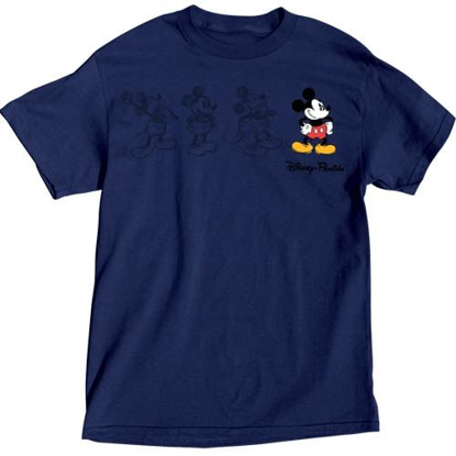 Picture of Disney Mickey Mouse Adult Unisex T Shirt 3 Mickey Sketch Embroidered Mickey