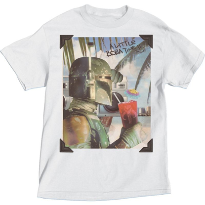 Picture of Star Wars Adult Boba Fett on the Beach White T-Shirt