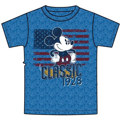 Picture of Disney Mens 28 Classic Mickey, True Blue Heather T-Shirt