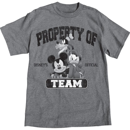 Picture of Adult Mens T-Shirt Property of Team Mickey Goofy Donald, Grey