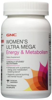 Picture of GNC Women's Ultra Mega Energy and Metabolism 90 Caplets Pack of 2. Total 180 Caplets