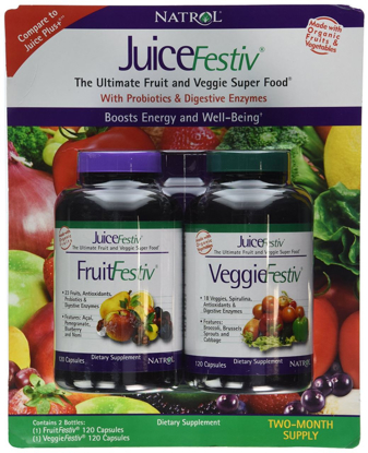 Picture of Natrol Juice Festiv the Ultimate Fruit and Veggie Super Food with Probiotics & Digestive Enzymes: 2 Bottles of 120 Capsules - Sms20