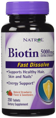 Picture of Natrol Biotin Extra Strength 5000 mcg- 250 Fast Dissolve Strawberry Flavored Tablets
