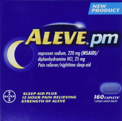 Picture of Aleve PM 160 Caplets Total Naproxen Sodium 220mg NSAID / Diphenhydramine 25 mg