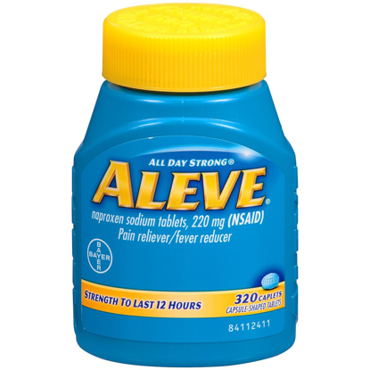 Picture of Aleve Naproxen Sodium 220 mg Pain Reliever Fever Reducer 320 Caplets