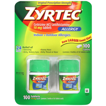 Picture of Zyrtec Cetirizine Hcl/Antihistamine (10 mg), 100 Tablets