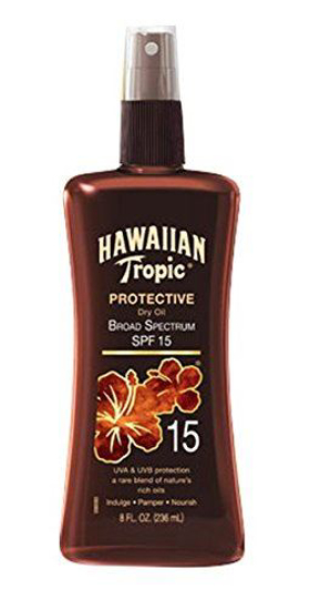 Picture of Hawaiian Tropic Sunscreen Protective Tanning Dry Oil Broad Spectrum Sun Care Sunscreen Spray - SPF 15, 8 Ounce