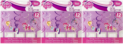 Picture of American Greetings Amscan Part Accessories- AMI 675513 My Little Pony Swirl Decorations (Pack of 3)