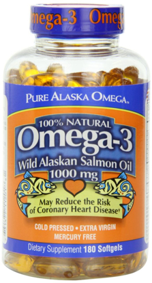 Picture of Pure Alaska Omega-3 Wild Alaskan Salmon Oil 1000mg Softgels 180-Count (Pack of 3)
