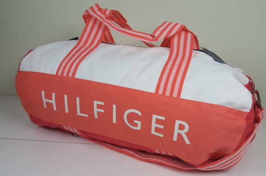 Picture of Tommy Hilfiger Colorblock Signature Duffle Bag Coral White