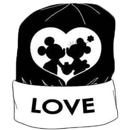 Picture of Disney Mickey Minnie Mouse Knit Adult Beanie Hat Black and White