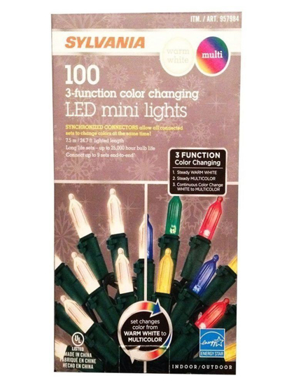 Picture of Sylvania LED 3-Function Color Changing Mini Lights - Perfect for the Holidays