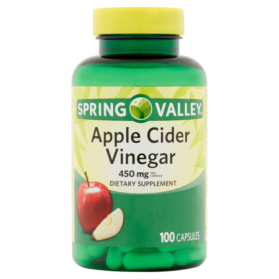 Picture of Spring Valley Apple Cider Vinegar Dietary Supplement Capsules, 450mg, 100 count