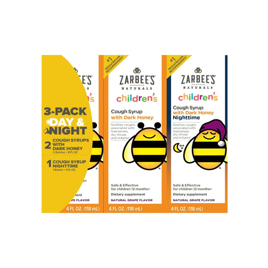 Picture of Zarbee's Child Natural Cough Syrup 3-day Pack Day/night Dk Honey Mucus Relief - 4 oz each (12 oz total)