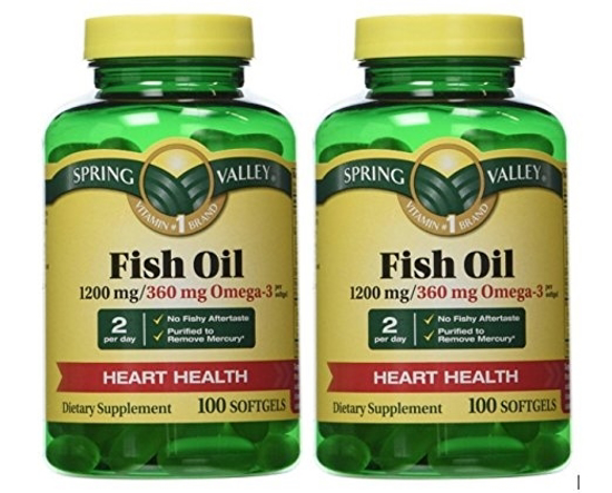Picture of Spring Valley - Fish Oil 1200 mg, Enteric Coated, 100 Softgels, 2-Pack