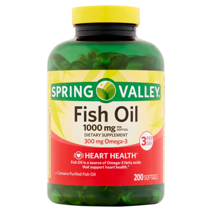 Picture of Spring Valley Fish Oil Dietary Supplement Softgels, 1000 mg, 200 count