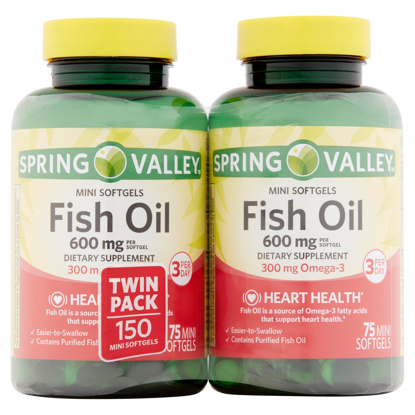 Picture of Spring Valley All Natural Fish Oil 600 mg, 300 mg Omega-3, Twin Pack, 2 x 75 Mini Softgels