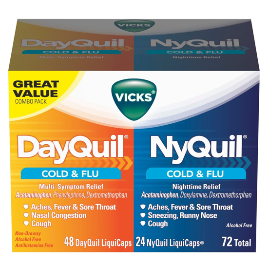 Picture of Vicks Dayquil And Nyquil Cold & Flu Relief Liquicaps Convenience Pack 72 Count