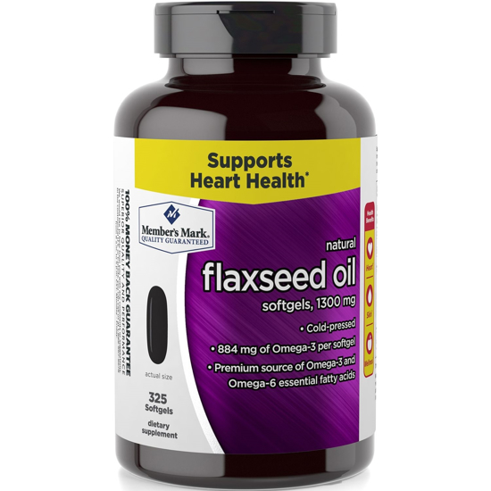 Picture of Member's Mark 1300mg Flaxseed Oil Softgels Cold Pressed Omega-3 Omega-6 (1 bottle (325 softgels))