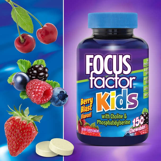 Picture of FOCUSfactor for Kids Chewable Wafers Berry Blast 150-Count