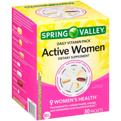 Picture of Spring Valley™ Active Women Daily Vitamin Pack Dietary Supplement 30 ct Box