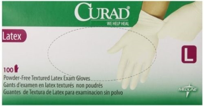 Picture of Curad Powder Free Latex Exam Gloves Large 100 count