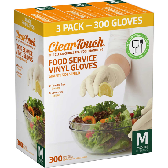 Picture of ClearTouch - Food Service Vinyl Gloves - 300 Count (Medium)