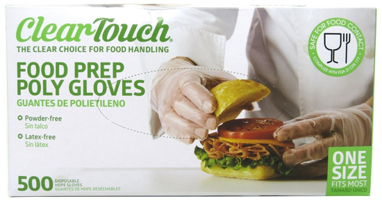 Picture of Disposable Gloves Food Preparation Poly Gloves-Disposable Food Gloves - Latex & Powder Free (3 Box- 1500 Gloves)