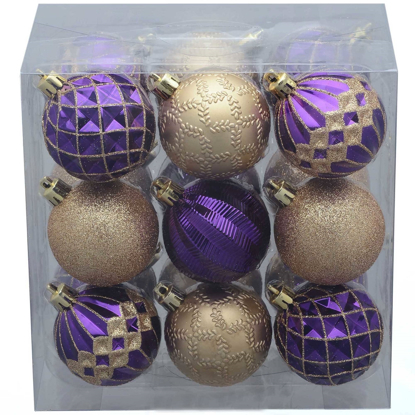 Picture of Holiday Time Christmas Tree 18 Pack Purple Gold Round Ornaments