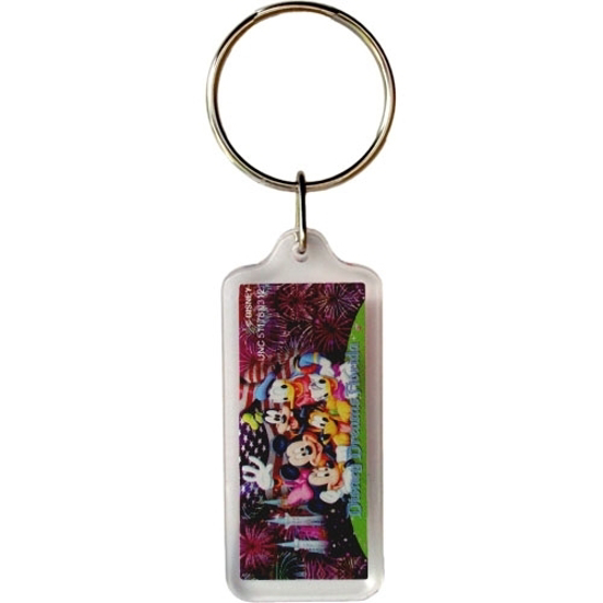 Picture of Disney Mickey Minnie Goofy Donald Pluto Firework Castle Lucite Keychain