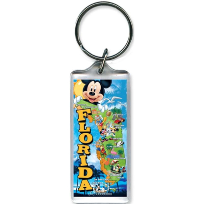 Picture of Disney Mickey Map Lucite Keychain (Florida Namedrop)